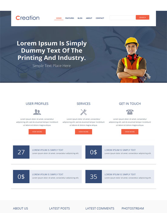 Creation-Free Flat Industrial Bootstrap Responsive web template