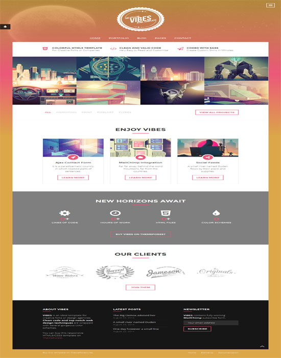 Vibes - Colorful Compact Portfolio HTML Template