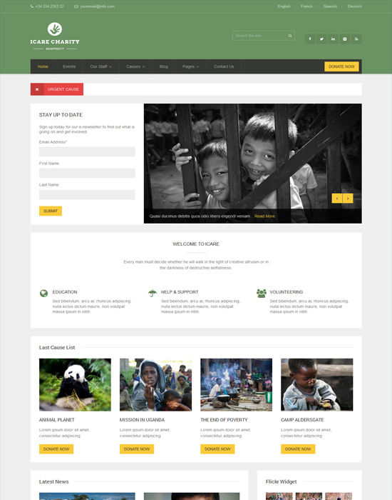 ICARE Charity -WordPress Fundraising and Nonprofit Theme