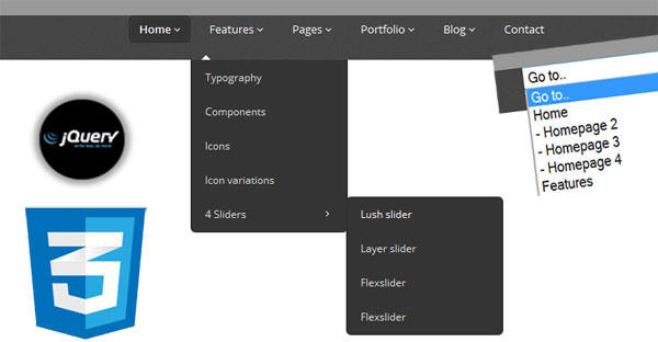 3-Level Menu - Responsive Drop Down 3 steps Navigation Menu with jQuery CSS3