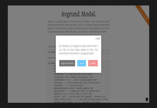 Avgrund - A jQuery plugin for modal boxes and popups
