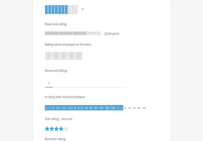 Bar - jQuery Bar Rating Plugin