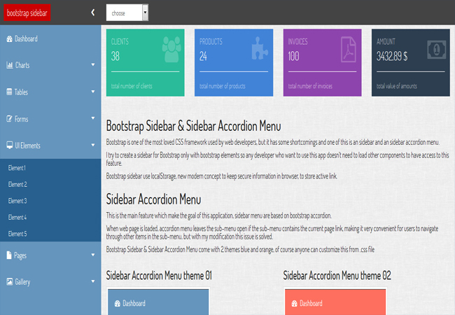 Bootstrap Sidebar & Sidebar Accordion Admin panel Menu