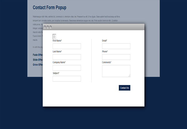 Contact Popup - jQuery Contact Form Modal Plugin