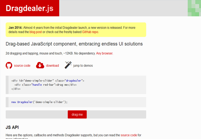 Dragdealer - Drag-based JavaScript component, embracing endless UI solutions