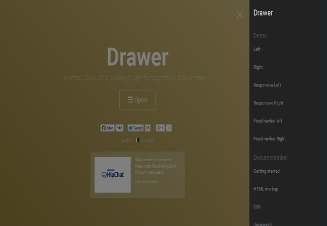Drawer - A small CSS3 and jQuery plugin for app style drawer menu