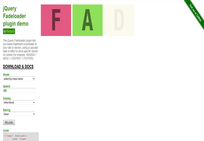 Fadeloader - Fading effect simple site preloader plugin