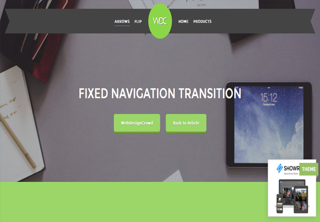 Fixed Navigation - jQuery and CSS3 Transition Menu plugin