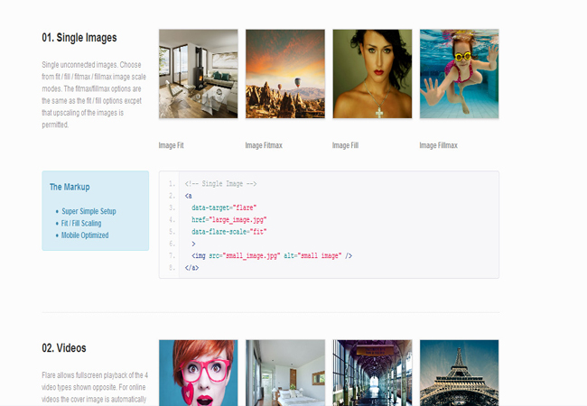 Flare - jQuery Responsive Mobile-Optimized gallery Plugin