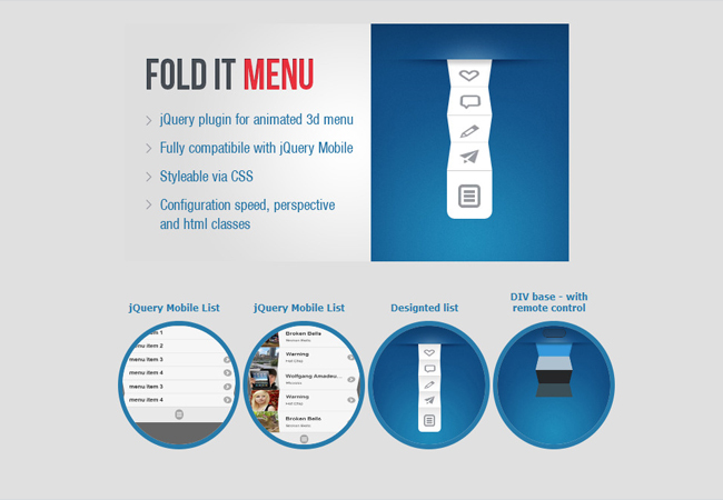 Fold - Animated 3D menu jQuery Plugin
