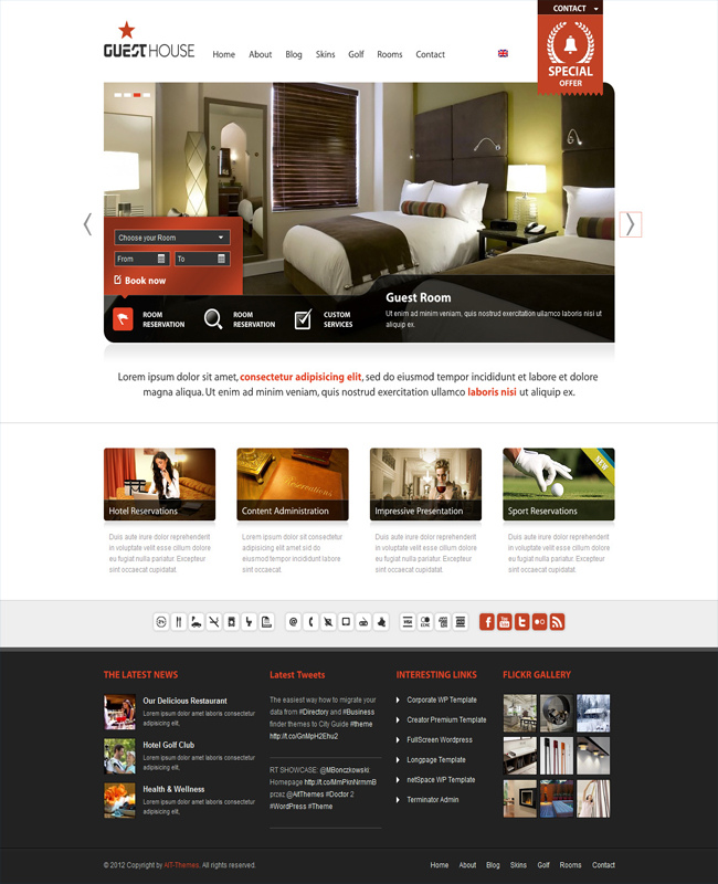 Guesthouse - hotel, travel agency wordpress theme