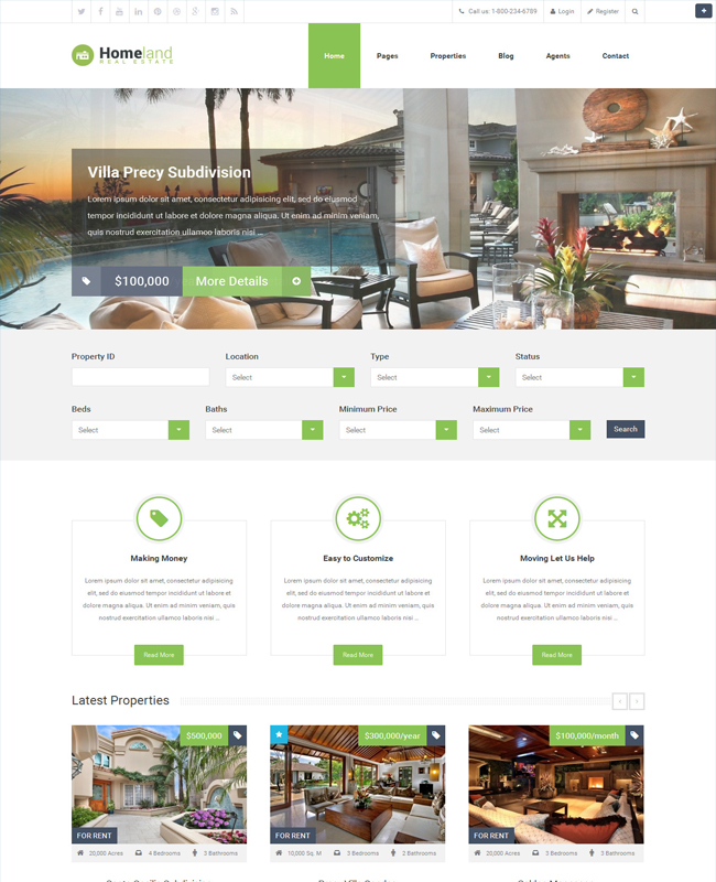 Homeland - Real Estate Business WordPress Theme