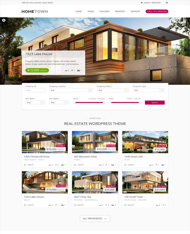 Hometown - Real Estate Property Agent WordPress Theme