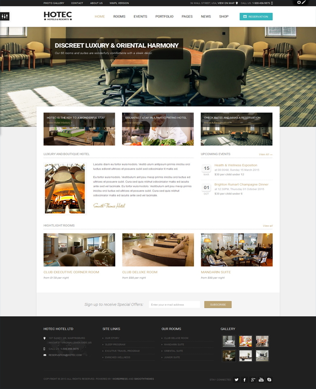 Hotec - Responsive Hotel, Spa & Resort Travel Tour WP Theme