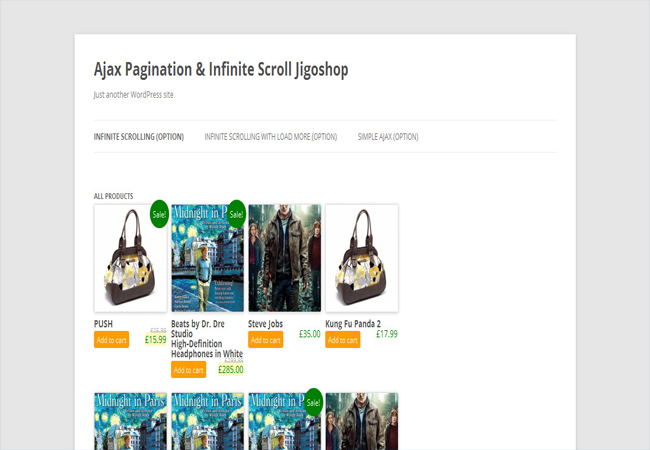 Jigoshop - Ajax Pagination & Infinite scroll animation Plugin