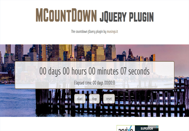 MCountDown - jQuery Responsive easy Countdown Plugin