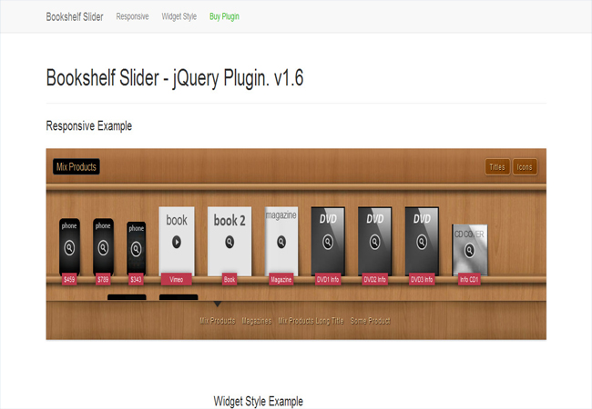Multipurpose Bookshelf Slider - jQuery gallery Plugin