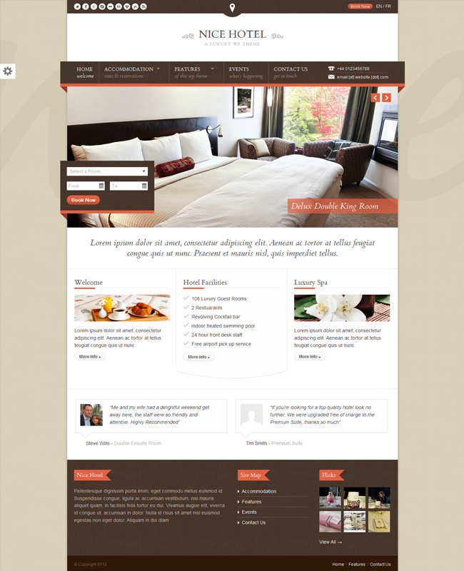 Nice Hotel - Hotel Reservation and Travel WordPress Theme
