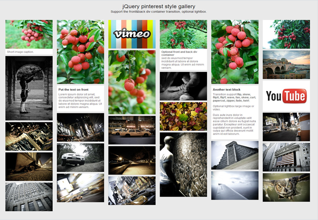 Pinterest style - jQuery gallery plugin for pinterest layout