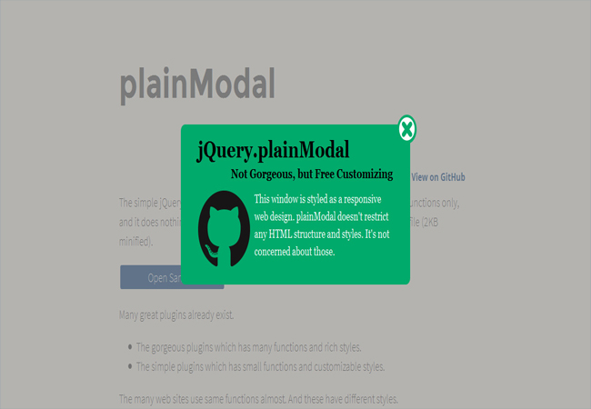 PlainModal - simple jQuery Plugin for customizable modal windows