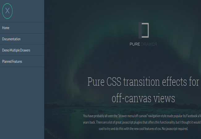 Pure Drawer- Free Off canvas drawers and CSS3 Menu
