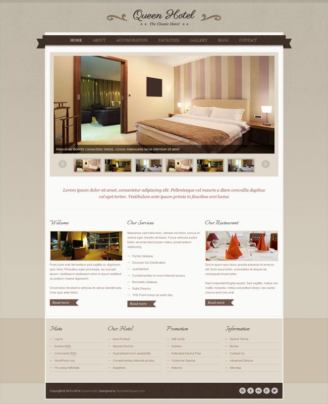 Queen Hotel - Classic and Elegant WordPress Theme suit For Travel