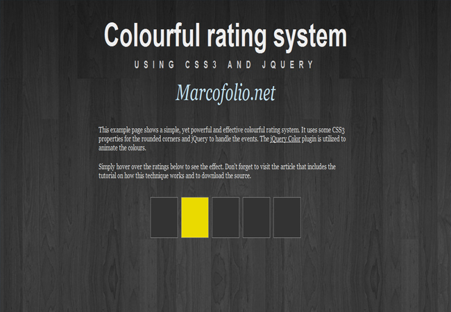 Quickie - jQuery Colourful rating system with CSS3