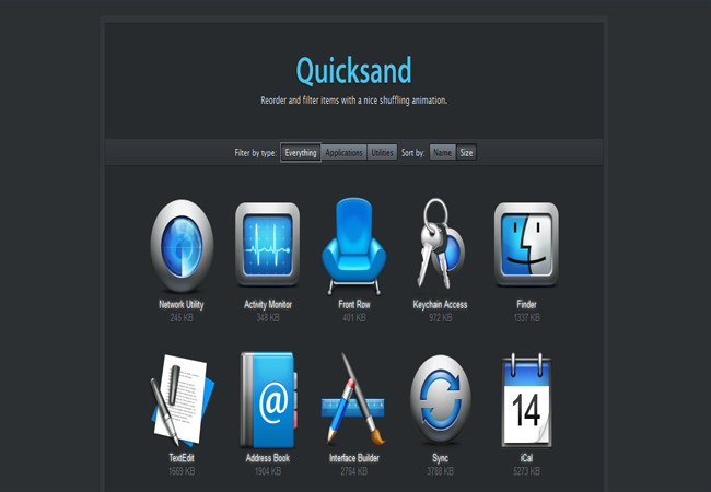 Quicksand - Free reordering and filtering items jquery Plugin