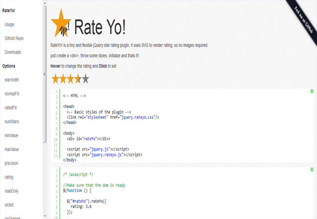Rate Yo -Tiny and flexible jQuery star rating plugin