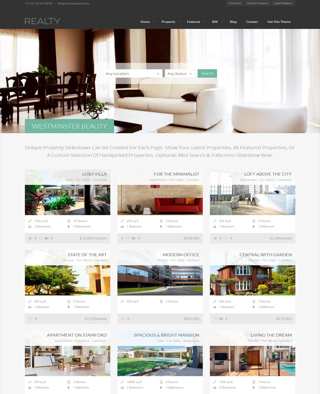 Realty - WordPresss Property Sale and Buy Real Estate Theme