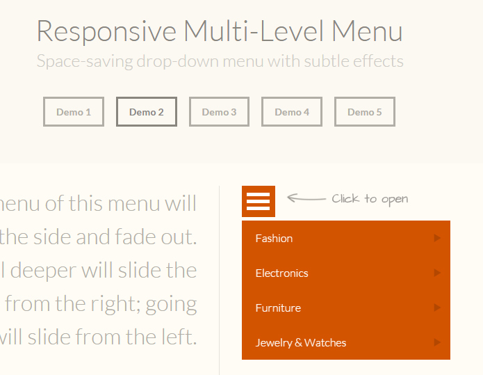 Responsive Multi-Level Menu - Space-saving drop-down menu with subtle effects