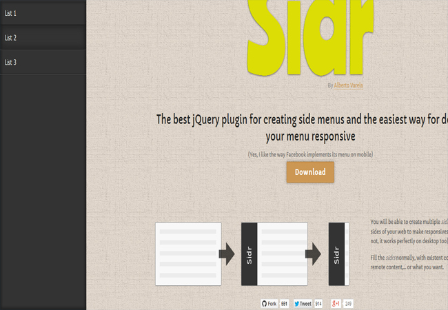 Sidr- jQuery Plugin for Creating Side menu