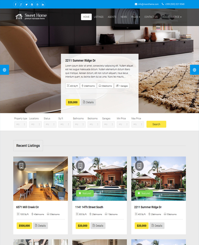 Sweethome - Real Estate Home Builders WordPress Theme