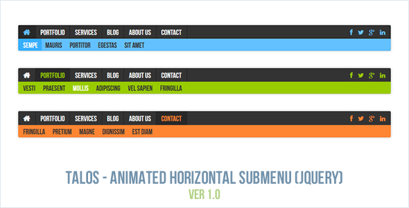 Talos - Horizontal Submenu Animated jQuery Plugin