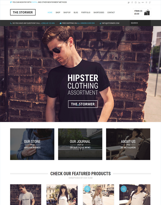 The Stormer - WordPress Hipster Apparel Ecommerce Theme