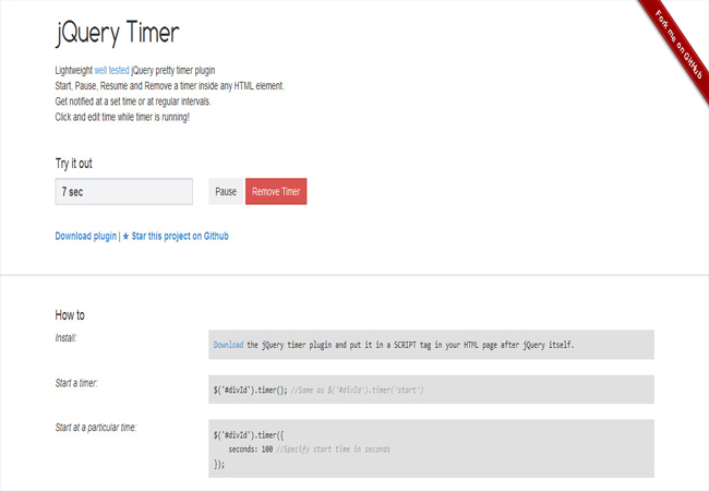 Timer - Lightweight well tested jQuery pretty timer plugin