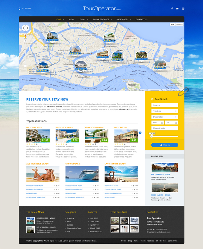 Tour Operator - WordPress theme with Online Reservation System