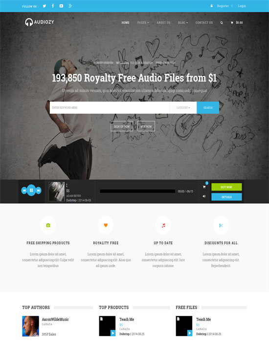 Audiozy Music Store Html Template