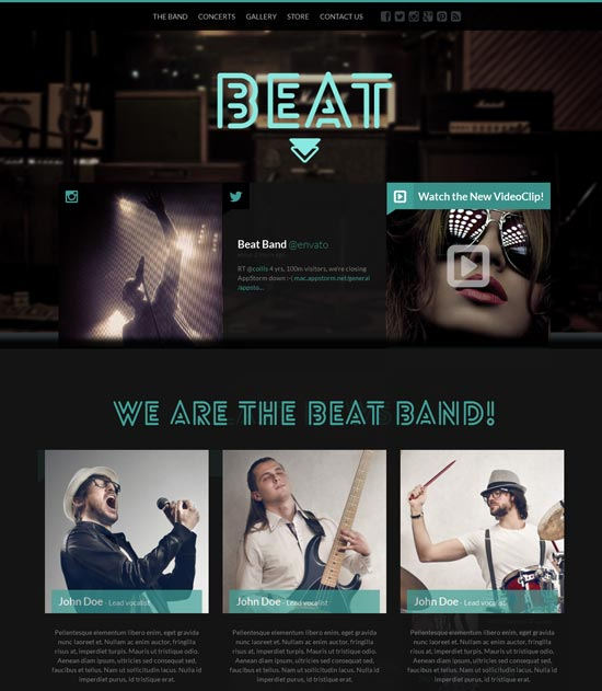 Beat - One-Page HTML5 Band & Music Template
