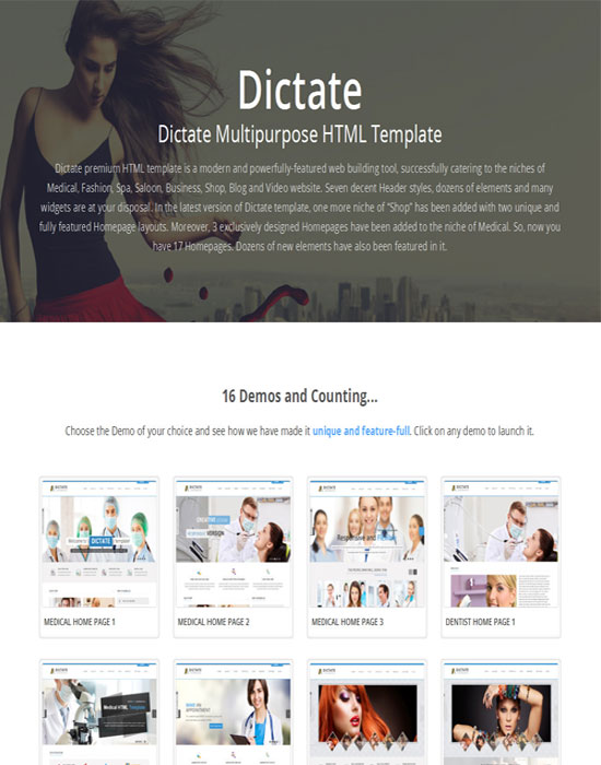 Dictate- Medical, Salon and Fashion HTML5 Template