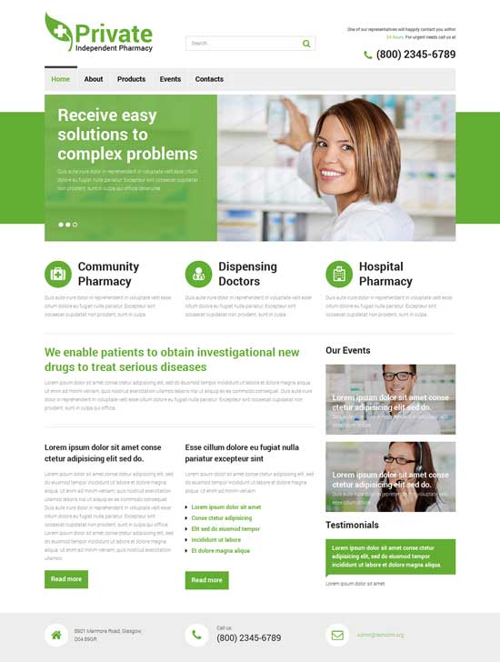 Drug Store hospital Website Templates