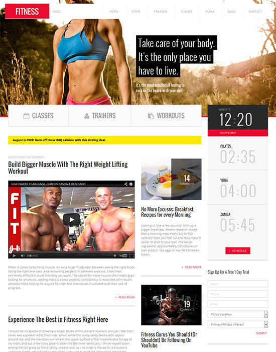 Fitness : Retina Responsive fitness gym HTML Template