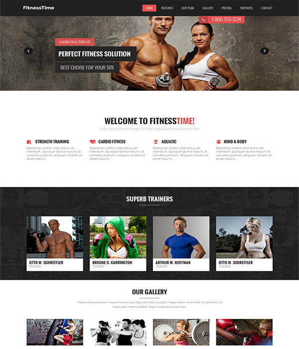 Fitness Time – free fitness center html template