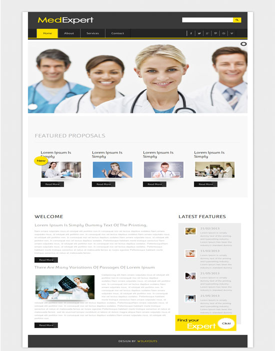 Free MedExpert Hospital Mobile Website Template