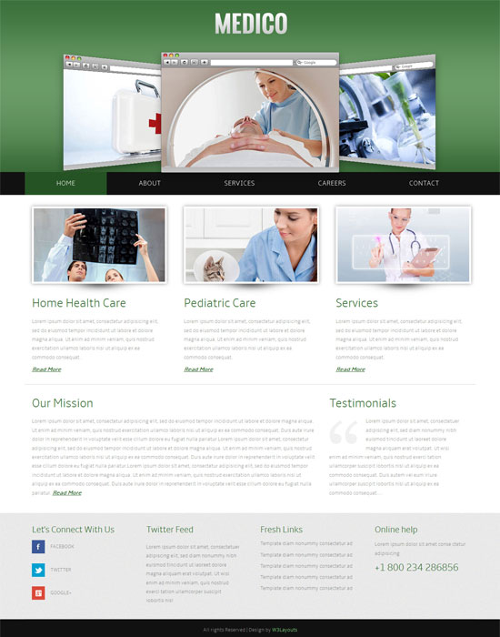 Free Medico Hospital Mobile Website Template