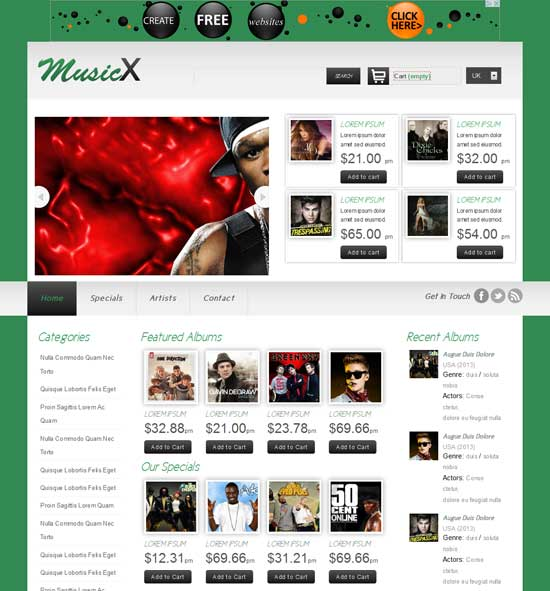 Free MusicX online shopping music responsive Website Template