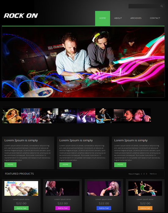 Free Rock On online shopping music Mobile Website Template