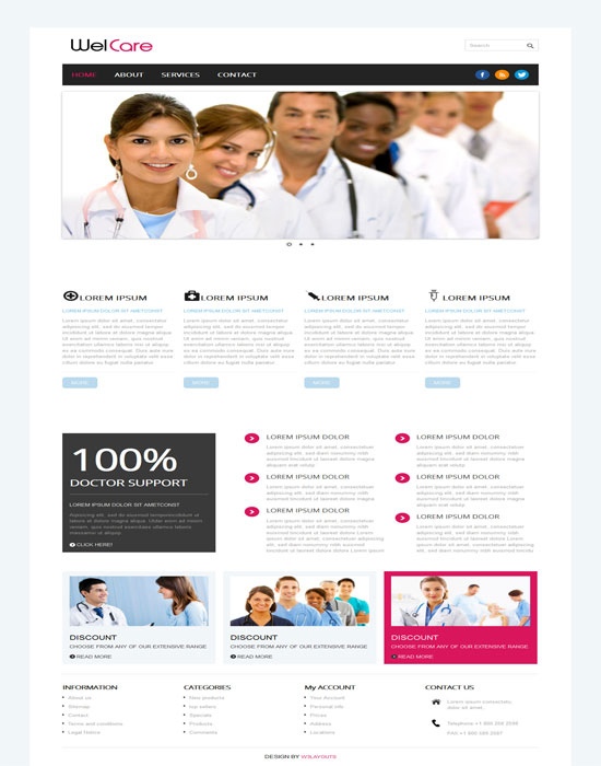 Free Welcare Hospital Mobile Website Template
