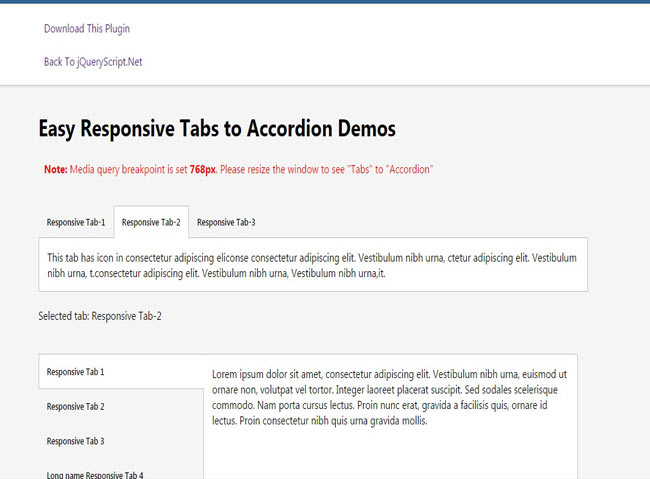 AccordionTab - Simple jquery tabs example