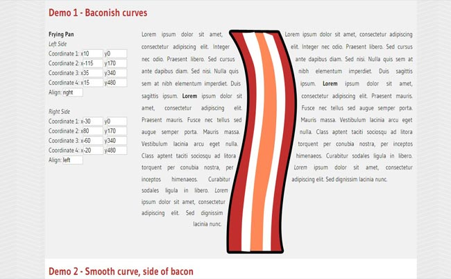 Bacon - jQuery Align Text Curve or Line Effect Plugin